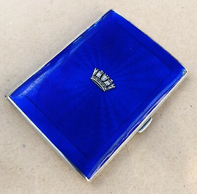 Lovely Solid Silver Royal Navy Guilloche Enamel Cigarette Case, Birm 1931