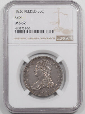 1836 Capped Bust Half Dollar - Reeded Gr-1 Ngc Ms-62