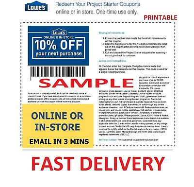 One 1x Lowes 10% OFF 1Coupons- InStore and Online -Fast-Email-Delivery--Exp 1/31