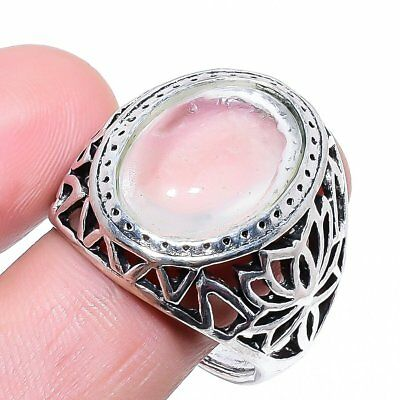 Magnificent Rose Quartz Gemstone 925 Sterling Silver Jewelry Ring Size 10
