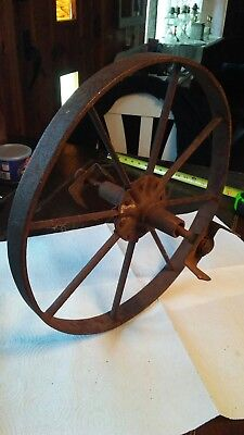 Old Vintage Antique Primitive Steel Spoke Wagon Cart Implement Wheels Farm Decor