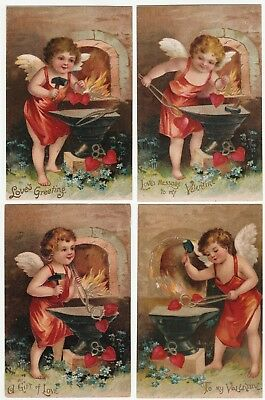 SUPER Series Set- Valentine's Day Postcards - 1908 Clapsaddle? Cupid Blacksmith