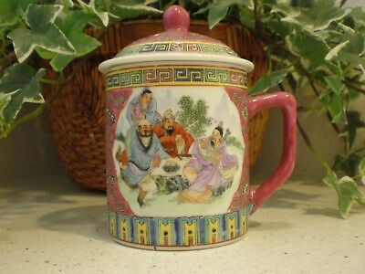 Chinese Tea Cup Mug w/Cover Lid Two Oriental Scenes #446 hand painted