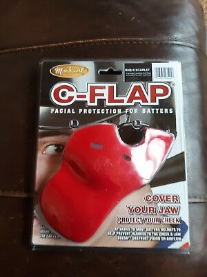 Baseball helmet C-flap facial protection - red (scarlet) - for right hand batter
