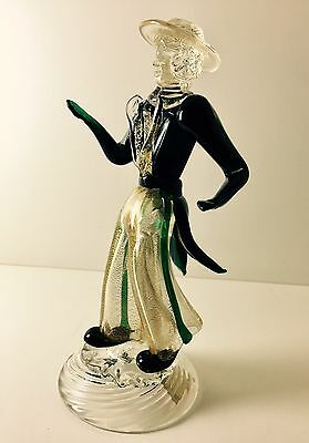 "Amazing Vtg Hand Blown Italian Murano Art Glass Dancer Figurine 8"" Martinuzzi"