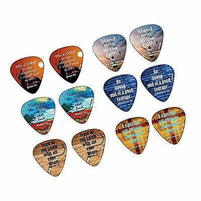 Christian Guitar Picks with Popular Bible Verses -12 Pack Celluloid Medium - ...