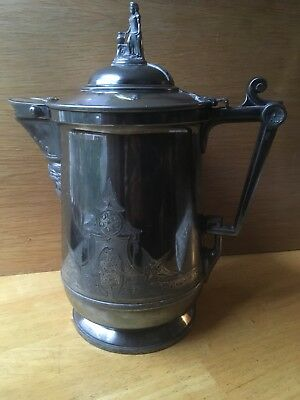 "13"" Antique 1854 Reed & Barton Silver Plate Etched Ice Water Neptune Pitcher"