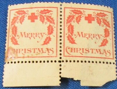 US Christmas Seals Pair + 1 WX1 Initial Release 1907 Disturbed Gum, Stain NH