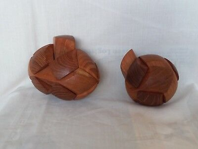 Unusual vintage hand crafted wooden puzzle x TWO