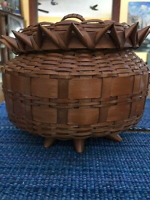 Large Vintage Native American Indian Porcupine Pineapple Basket Antique