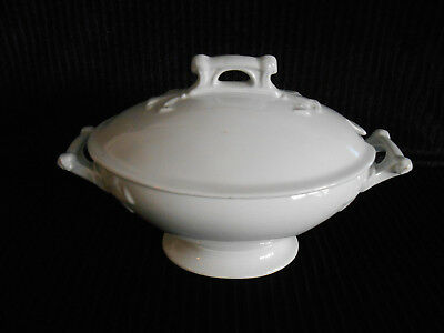 Antique Powell & Bishop White Ironstone Covered Footed Tureen