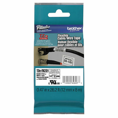 GENUINE Brother TZE-FX231 TZEFX231 P-Touch Flex ID Tape 12mm Blk/Wht TZFX231 -JS