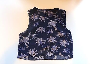 Blue Palm Tree Print Two Piece Crop Top Shorts Playsuit Missguided UK 10