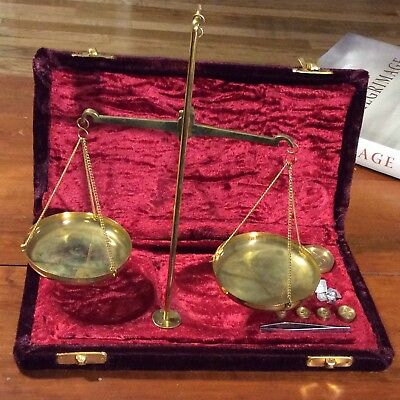 Vintage Brass Scale Jewelers Pharmaceutical Apothecary Red Velvet Box Weights
