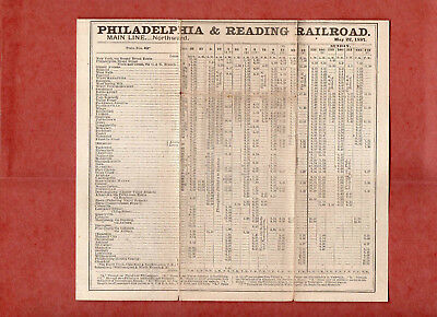 Philadelphia & Reading RR P&RRR Main Line Public Timetable May 22 1887