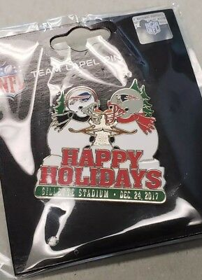 Buffalo Bills VS New England Patriots 12/24/17 Game Day Pin HAPPY HOLIDAYS PIN