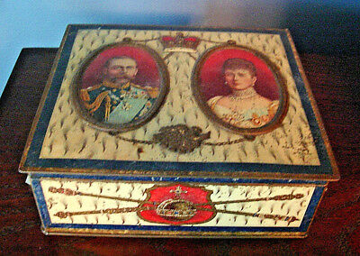 Vintage c.1911 KING GEORGE V & QUEEN MARY CORONATION TIN, England, Royalty
