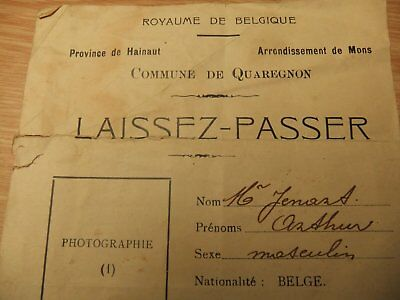 document d un laisser passer de 1914