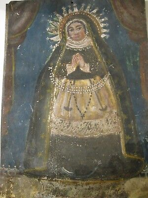 Original Antique Retablo  On Tin  With Image Of Virgin Mary From The 1800's