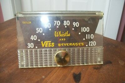 Whistle & Vess Beverages Desk Thermometer Metal Back *rare*