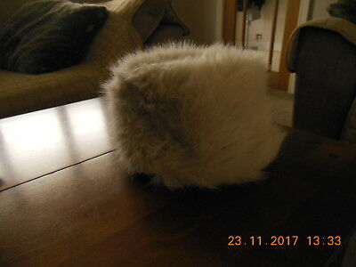 Ladies M&S Size Small - Medium Cream Fur Hat - New Without Tags