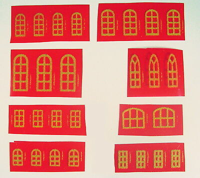 Cardboard Christmas Putz Houses Replacement FUZZY WINDOWS & DOORS Pre WWII