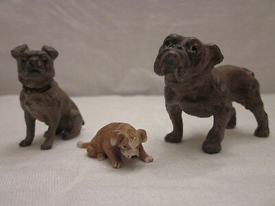 Cast Iron Dog Figurines: 2 Vintage or Antique English Bulldogs,1 Beagle (?)
