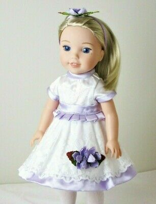 """Doll Clothes 14.5"""" Dress Lavender White For American Girl Wellie Wishers Dolls"""