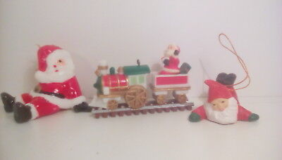lot vintage father christmas decorations x 3 father christmas on train