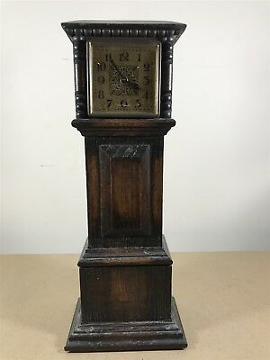 Vintage Shelf / Mantel Clock . Small Grandfather Clock Styled Design Wooden Case