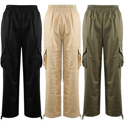 Elasticated Waist Pocket Tie Up Ankle Cargo Combat Military Army Trousers Pants