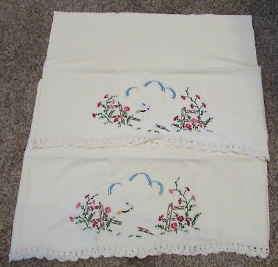Pair Vintage Hand Embroidered Pillow Cases With Lamb Fence and Flowers