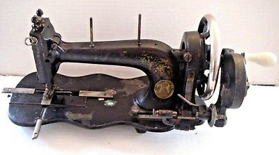 1800's Antique Singer Fiddle Base Sewing Machine Handle Crank pearl inlay
