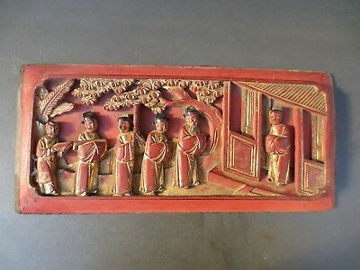 Old Vintage Antique Chinese Wood Panel from China 18th Century