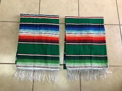TWO PIECE SERAPE SET ,5' X 7',Mexican Blanket,HOT ROD,Covers, XXL, GREEN , NEW