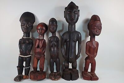 Primitive African Hand Carved Wood Statue Tribal Figures Lot