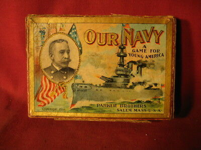"""1899 Parker Brothers """"OUR NAVY"""" A Game For Young America"""