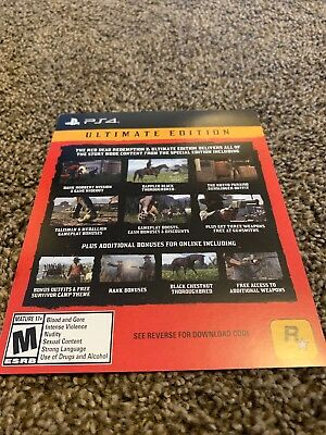 Red Dead Redemption 2 Ultimate Edition DLC CODE ONLY PS4 PlayStation 4 no game