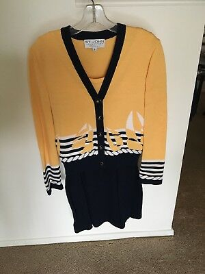 St John Collection by Marie Gray 3 Piece Santana Knit Yellow & Navy Set