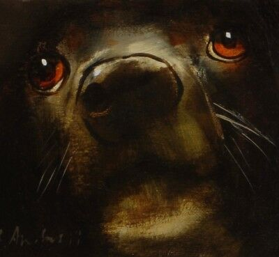 DOG PORTRAIT : ORIGINAL OIL PAINTING : Cross Breed Canine Art by David Andrews