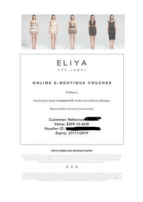 Eliya The Label - Gift Voucher / Credit Note $359.00 (dress top skirt)
