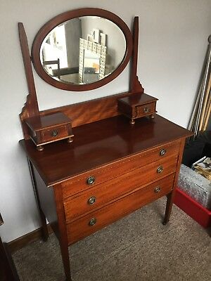 Antique Chest Of Drawers Dressing Table Vintage Solid Wood