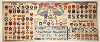 1943 U S Army Corps Divisions Insignia Patches Wwii Advertising Ink Blotter Fair