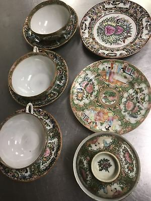 Chinese Antique Famille Rose Porcelain 4 Cups And 5 Small Plates