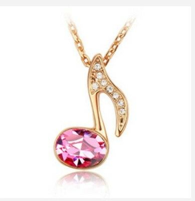 18K Rose Gold Plated Music Note Pink Crystal Pendant Necklace, fast US shipping