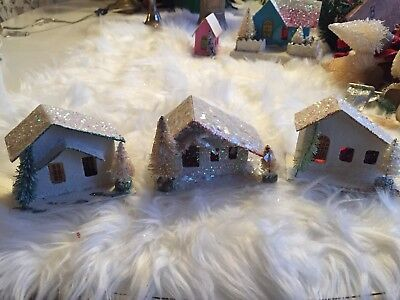 Lot 3 ANTIQUE VINTAGE JAPAN PUTZ House Shabby White Bottlebrush Trees CHRISTMAS
