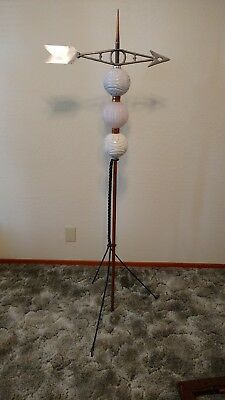 "Vintage Lightning Rod Weathervane Moon Star Balls 59"" Tall with Stand"