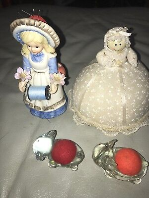 ANTIQUE SEWING  PIN CUSHION COLLECTION LOT For 4  NEEDLE HOLDERS
