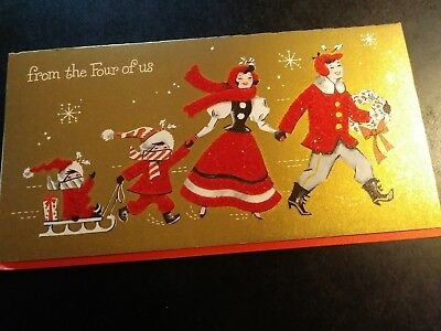 VINTAGE MCM CHRISTMAS CARD From the Four of Us RED GOLD FELT GLITTER PRETTY!!