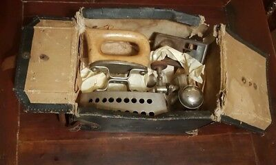 Victorian Travel Iron in original case and leaflet
